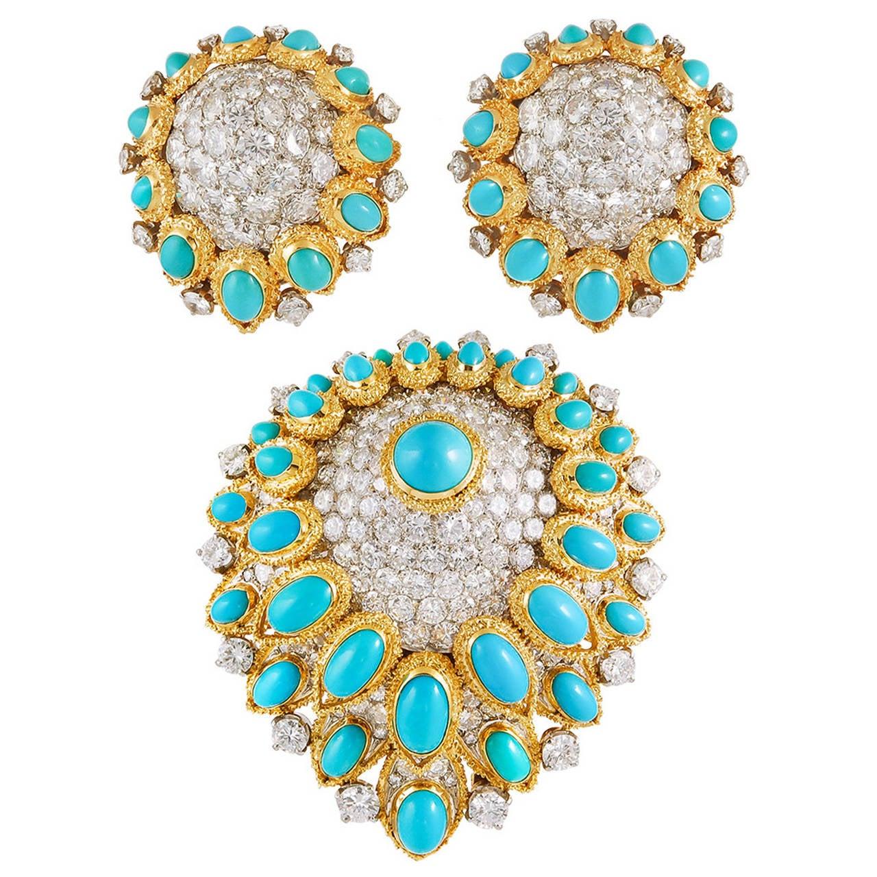 Van Cleef & Arpels Cabochon Turquoise Diamond Gold Demi-Parure