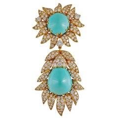 Van Cleef & Arpels Turquoise Diamond Gold Brooch/Pendant