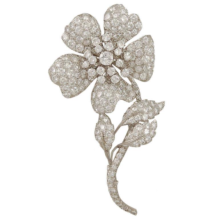 David Webb Diamond Flower Brooch