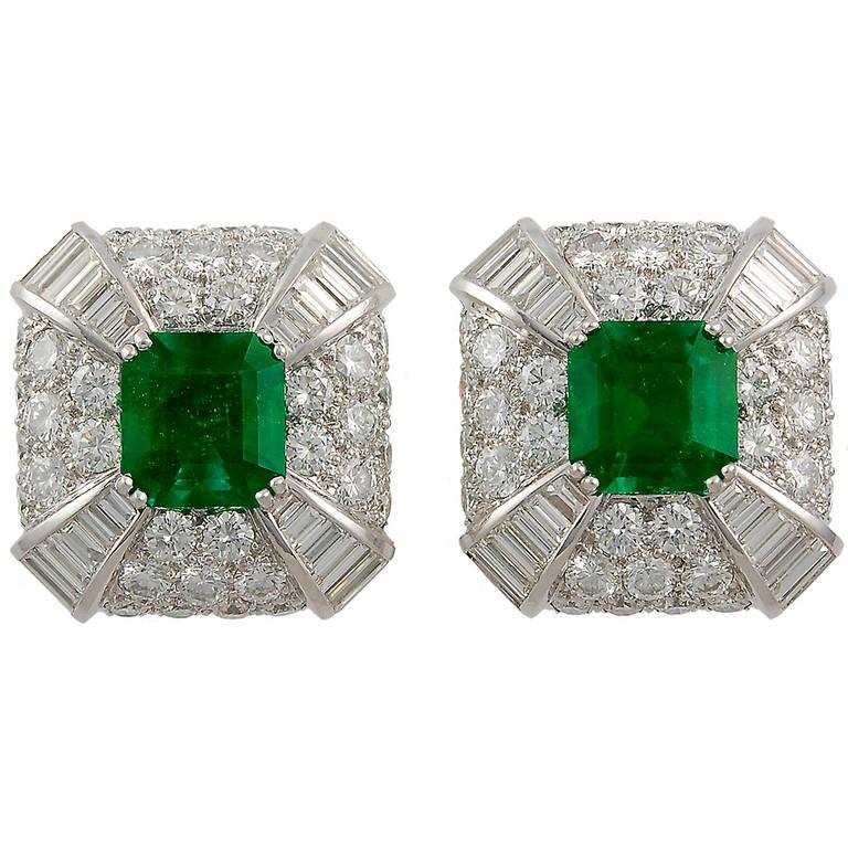 David Webb Emerald Diamond Earclips