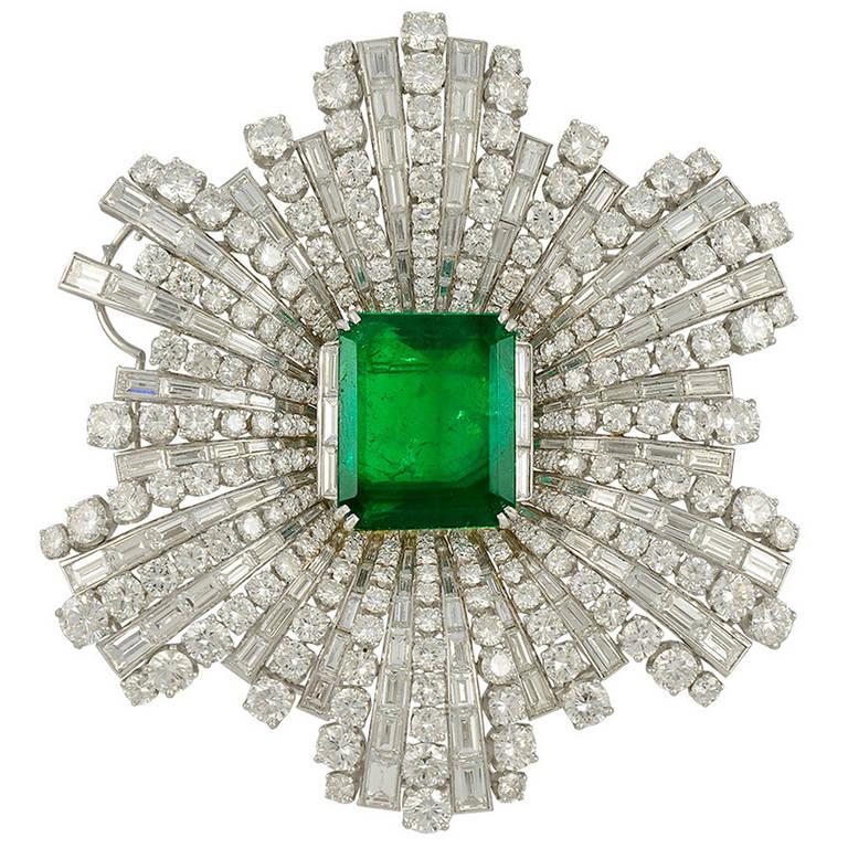 Harry Winston Emerald Diamond Brooch At 1stdibs