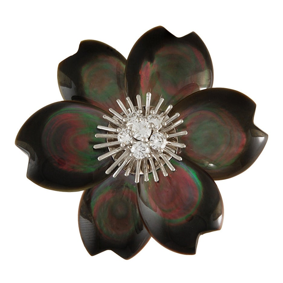 "Van Cleef & Arpels Mother of Pearl ""Rose de Noel"" Diamond Brooch"