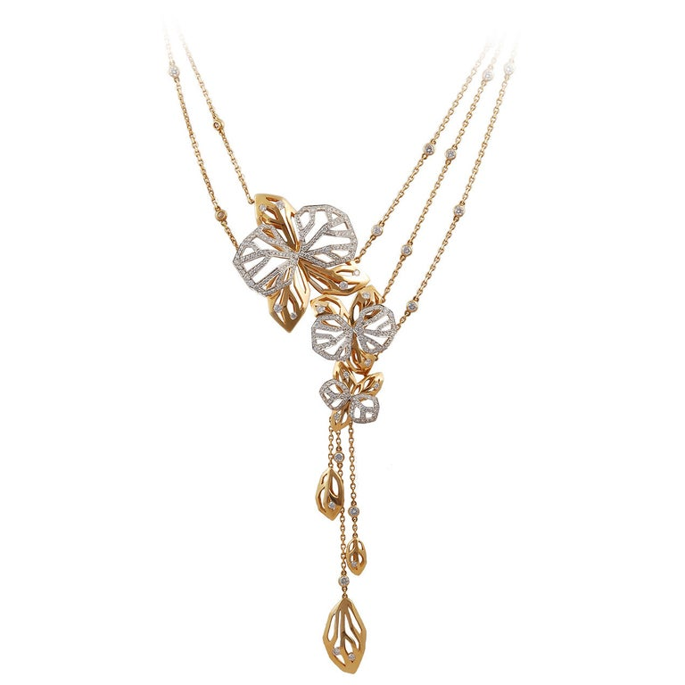 CARTIER Diamond Carrese D'Orchidees Necklace For Sale
