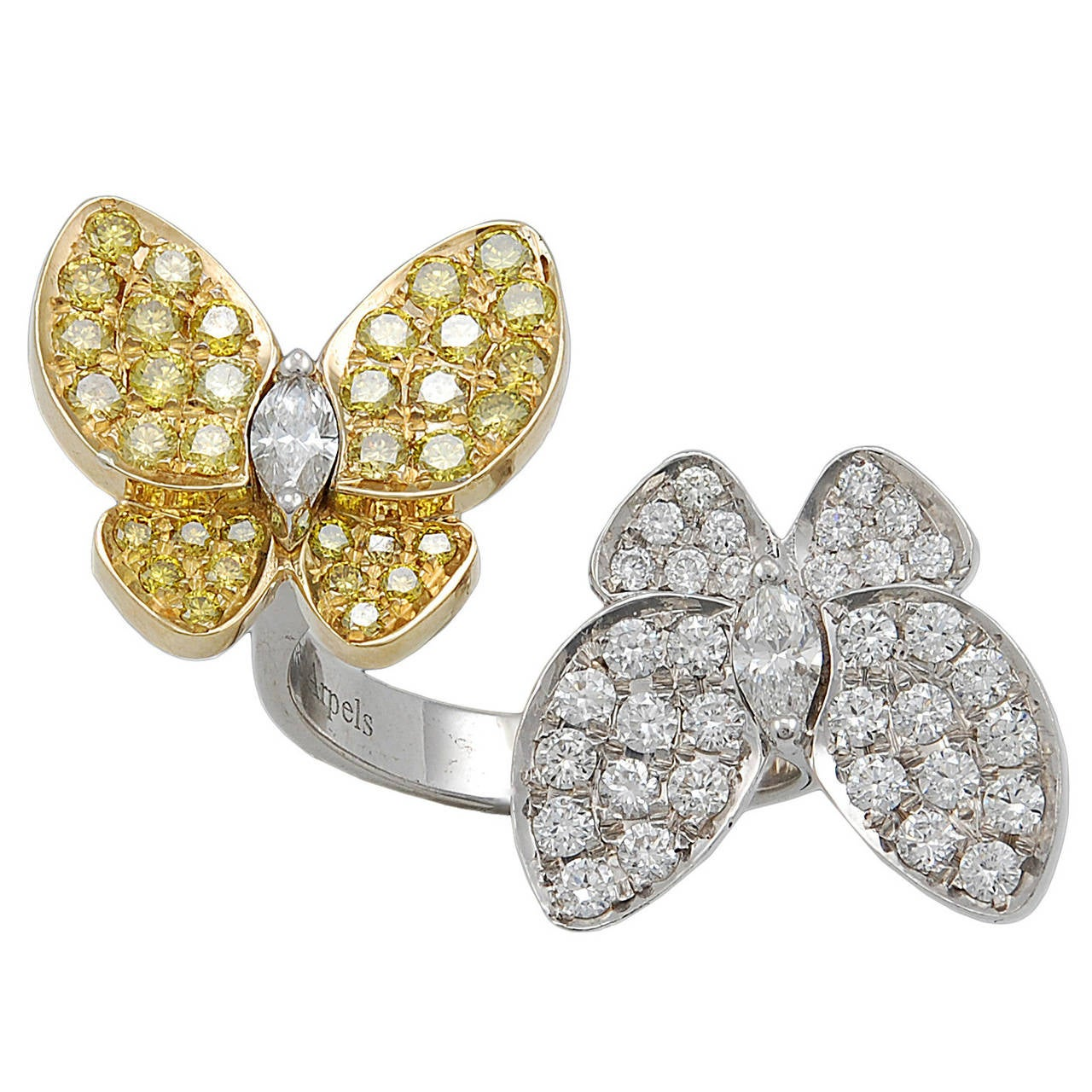 Van Cleef And Arpels Yellow Sapphire And Diamond Butterfly