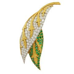 Fred Paris Emerald Diamond Two Tone Gold Two Leaf Brooch
