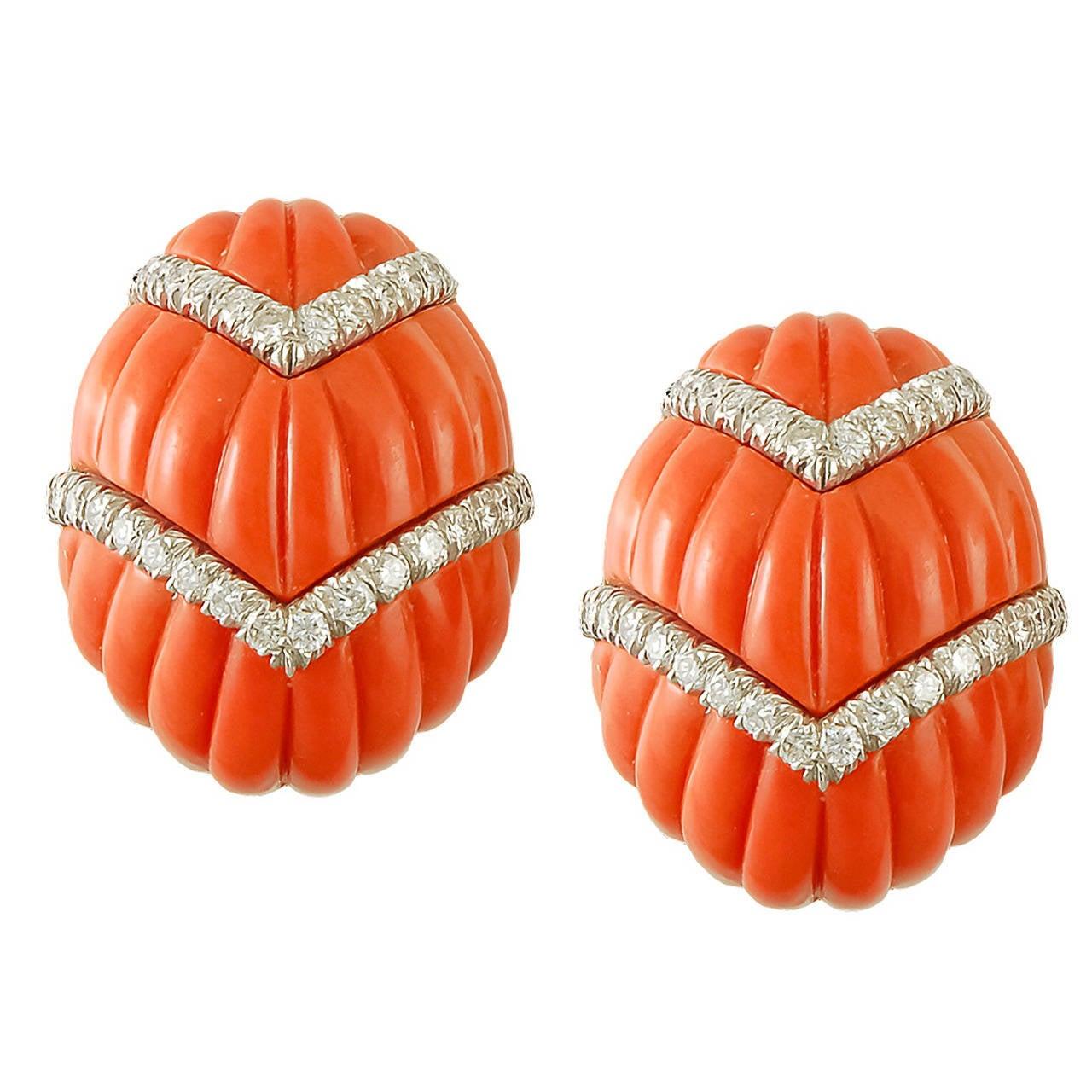 David Webb Coral Diamond Earclips