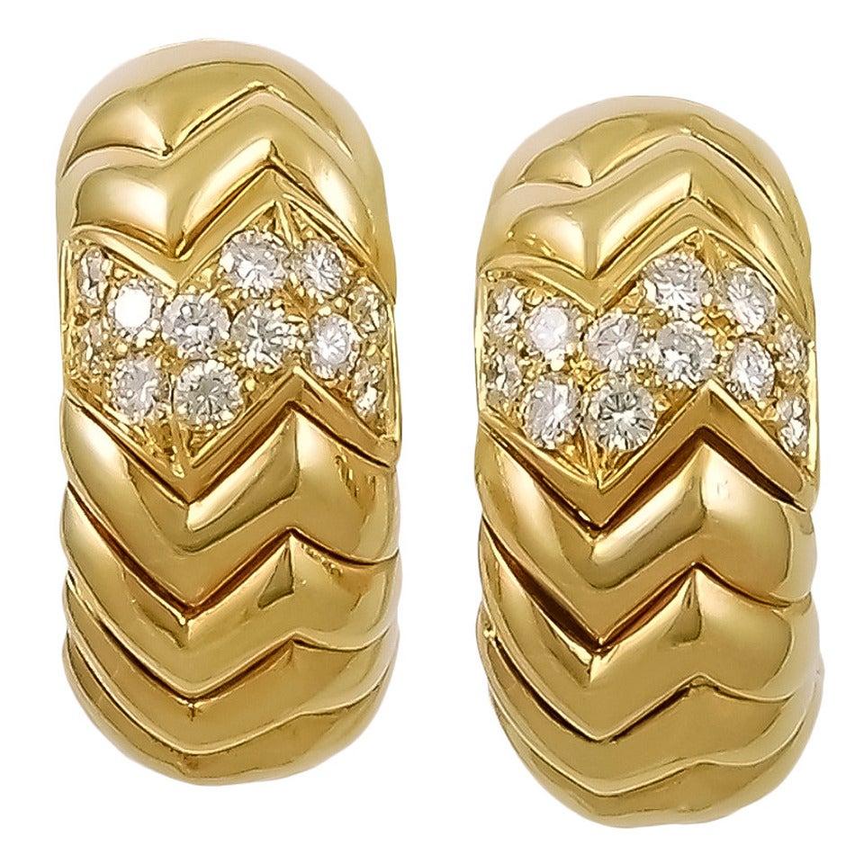 Bulgari Diamond Hoop Earclips