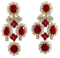 Harry Winston Burma Ruby Diamond Earrings