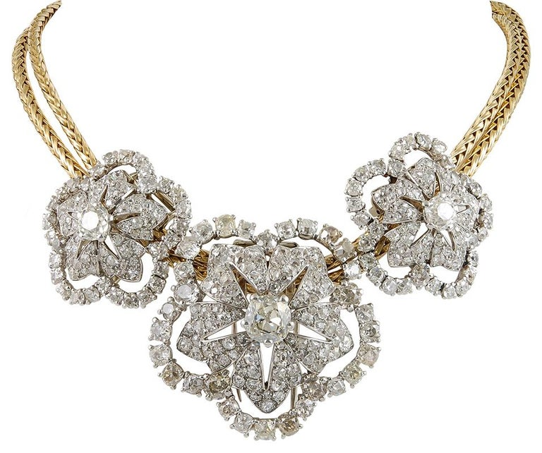 Women's Important 1950s Cartier Paris Triple Diamond Detachable Brooches Gold Necklace For Sale