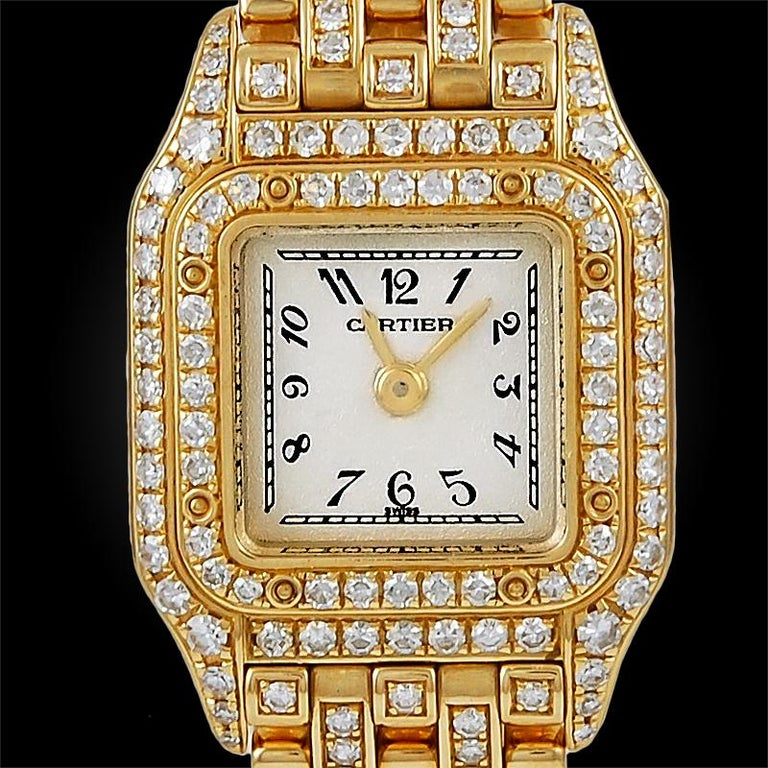 Cartier Ladies yellow gold Diamond Mini Panthere Quartz Wristwatch In Excellent Condition For Sale In New York, NY