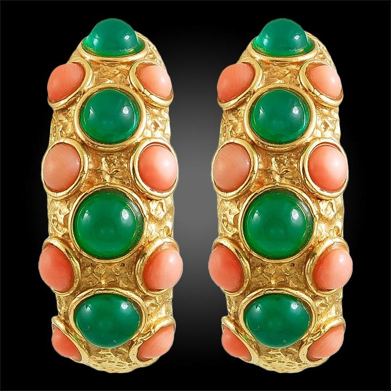 1970s Van Cleef & Arpels Coral Chrysoprase Gold Necklace Three Piece Set For Sale 1