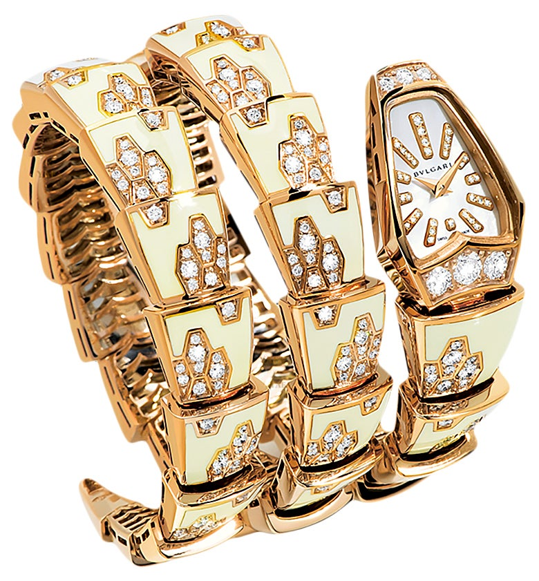 Bulgari Ladies Diamond Mother of Pearl Yellow Gold Serpenti Quartz Wristwatch