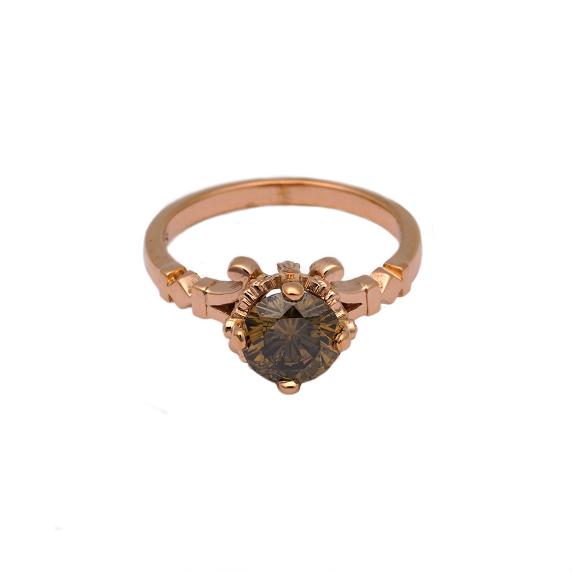 William Llewellyn Griffiths Rose Gold and Cognac Diamond Engagement Ring