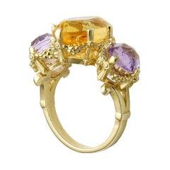 9kt Yellow Gold, Amethyst & Citrine Ring
