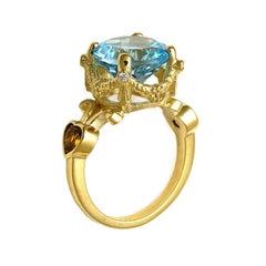 9kt Yellow Gold, Aquamarine and Sapphire and Diamond Ring
