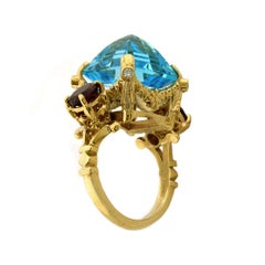 9kt Yellow Gold, Topaz, Garnet and Diamond Ring
