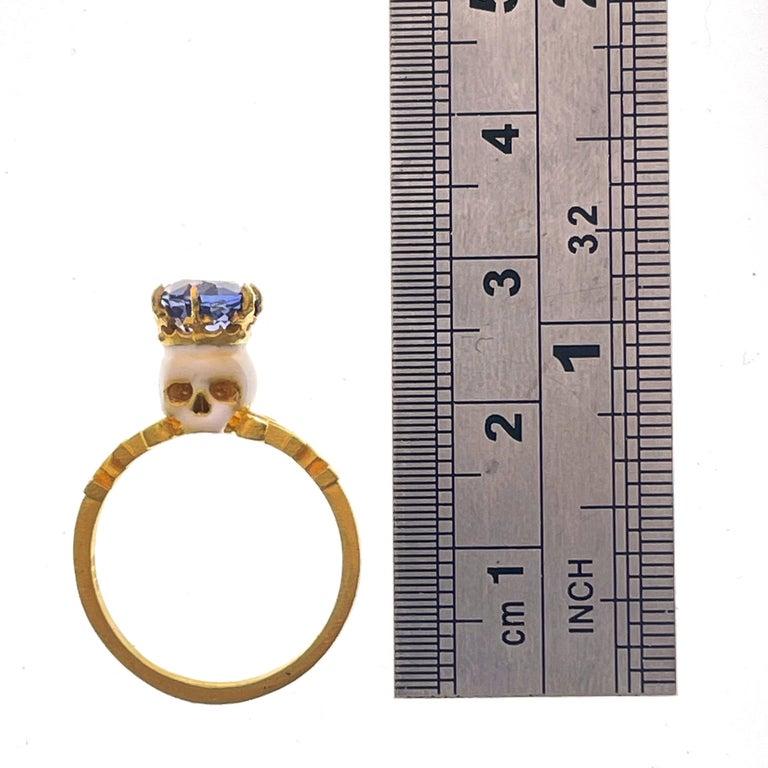 Catacomb Saint Skull Ring in 22 Karat Gold, Enamel and Violet Blue Sapphire For Sale 9