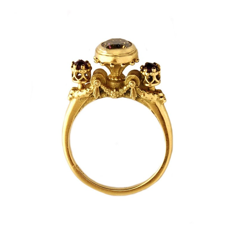 The Elevated Existence Ring is a marvelous piece.   Though dainty this ring will capture the wearer and all who lay their glances upon it with its exquisite diamond. Handmade in 18kt yellow gold this divine ring features a central, 1ct brilliant cut
