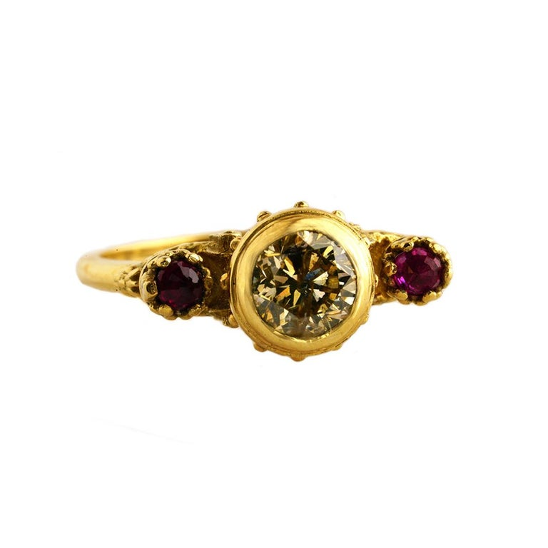 Gothic Revival Elevated Existence Ring in 18 Karat Yellow Gold, 1 Carat Diamond and Rubies For Sale