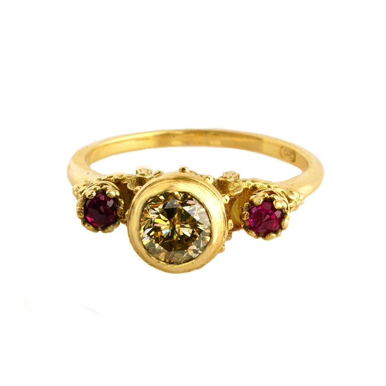 Brilliant Cut Elevated Existence Ring in 18 Karat Yellow Gold, 1 Carat Diamond and Rubies For Sale