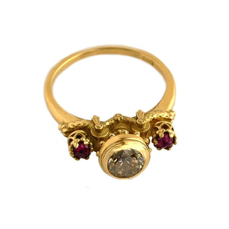 Elevated Existence Ring in 18 Karat Yellow Gold, 1 Carat Diamond and Rubies In New Condition For Sale In Fitzroy, AU