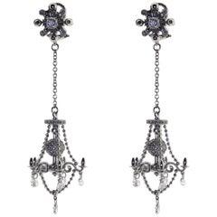 18kt White Gold, 1.5 Carat Diamond, Chandelier Earrings