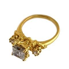 18kt Yellow Gold, 1.51ct Princess Cut Diamond & Rose Cut Diamond Victorian Ring