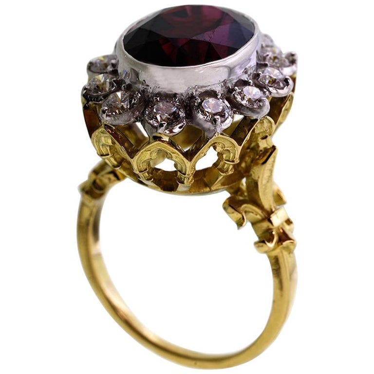 18kt Yellow & White Gold, 11 Carat Garnet and 1 Carat Diamond Ring For Sale