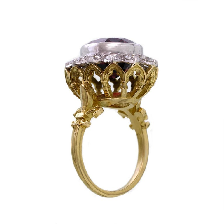 18kt Yellow & White Gold, 11 Carat Garnet and 1 Carat Diamond Ring In New Condition For Sale In Fitzroy, AU