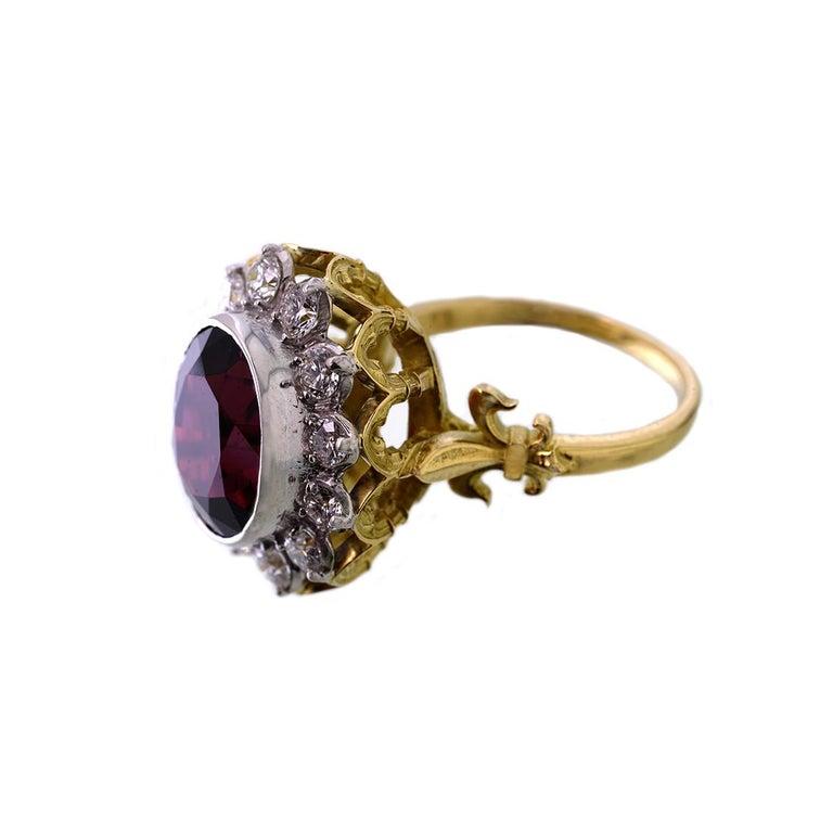 Women's or Men's 18kt Yellow & White Gold, 11 Carat Garnet and 1 Carat Diamond Ring For Sale