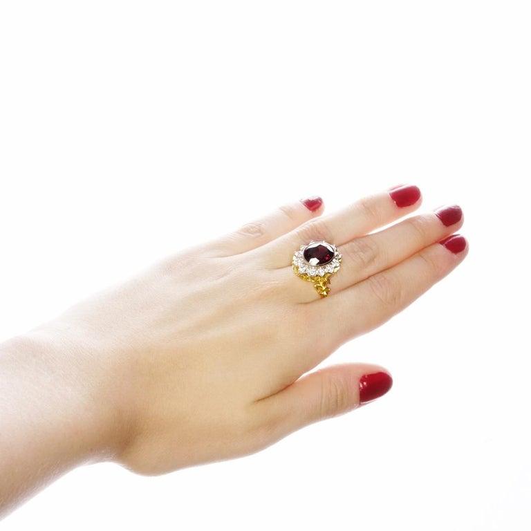 18kt Yellow & White Gold, 11 Carat Garnet and 1 Carat Diamond Ring For Sale 1