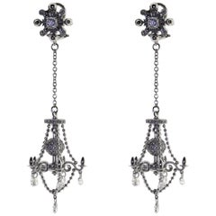 18kt White Gold, 1.5 Carat Diamond, Victorian Style Chandelier Earrings