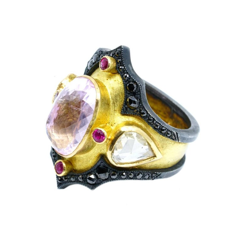Rose Cut Kunzite and Ruby Byzantine Style Diamond Ring For Sale