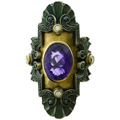 William Llewellyn Griffiths Amethyst & Diamond Medieval Meets Art Deco Ring