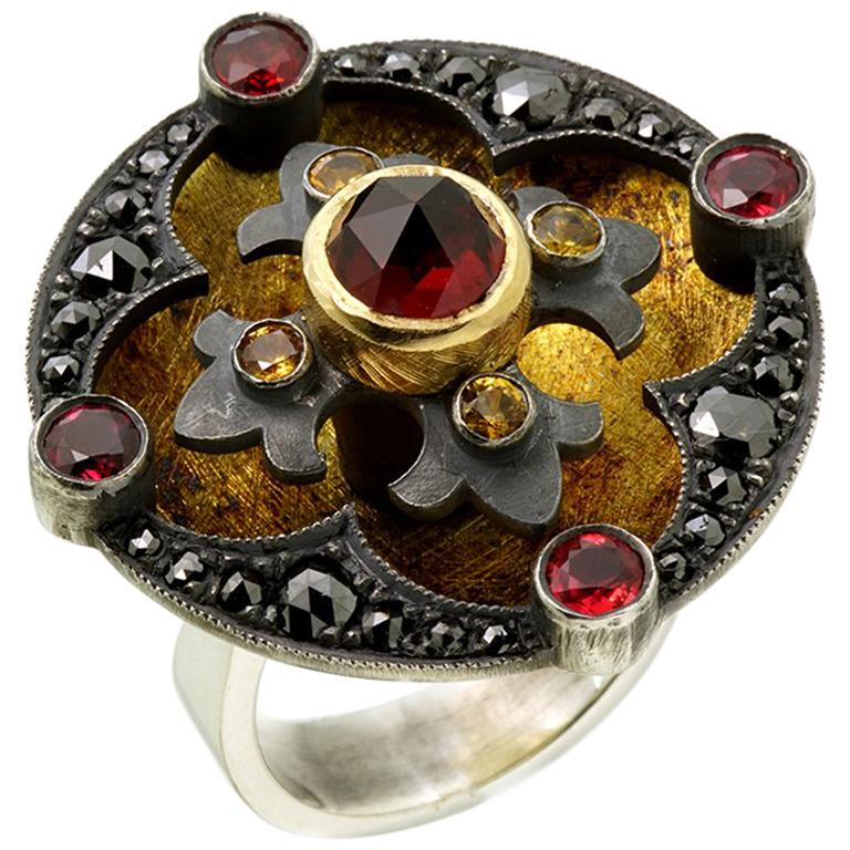 18kt Yellow Gold, Sterling Silver, Garnets, Diamond, Sapphire Ring For Sale
