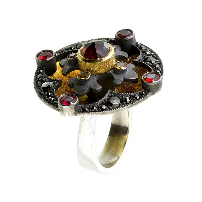 Medieval 18kt Yellow Gold, Sterling Silver, Garnets, Diamond, Sapphire Ring For Sale
