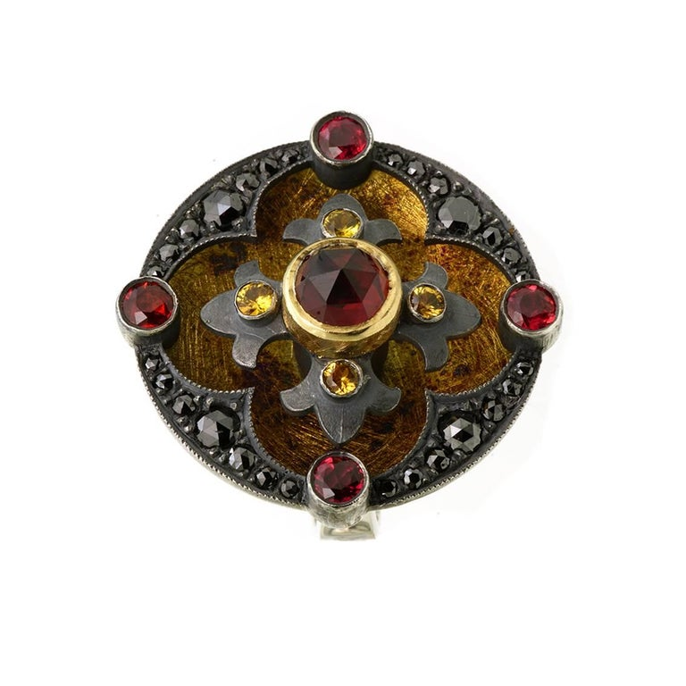 18kt Yellow Gold, Sterling Silver, Garnets, Diamond, Sapphire Ring In New Condition For Sale In Fitzroy, AU