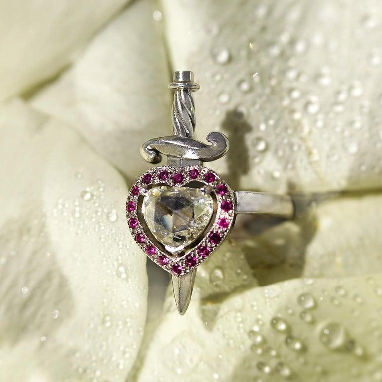Women's 18kt White Gold, 0.70 Carat Diamond, 0.20 Carat Ruby, Heart & Dagger Ring For Sale