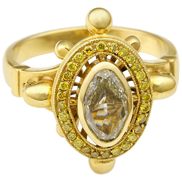 18kt Yellow Gold, 1.02 Carat Diamond Ring For Sale