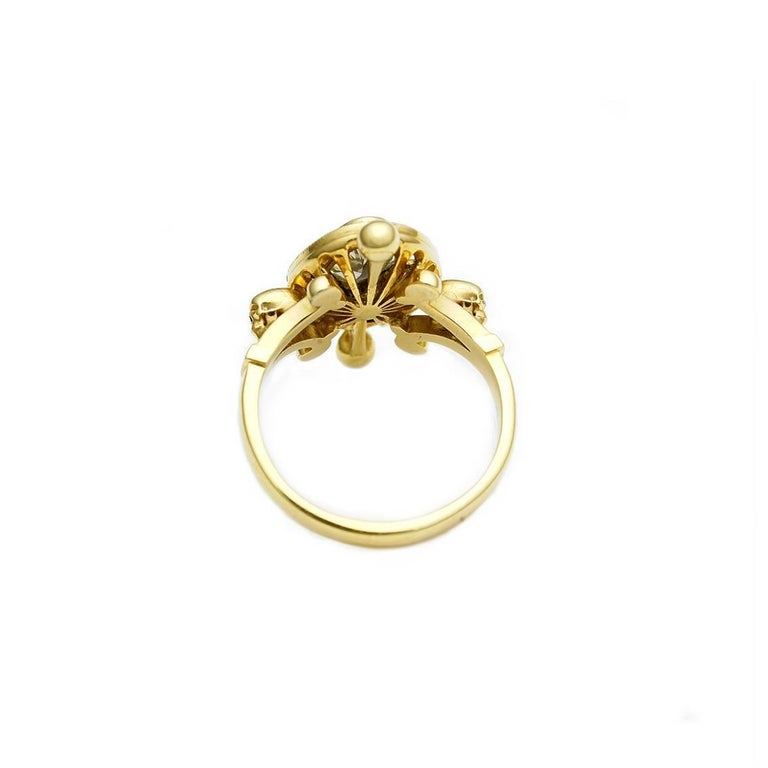 Contemporary Diamond and Skulls Victorian Gothic Ring For Sale