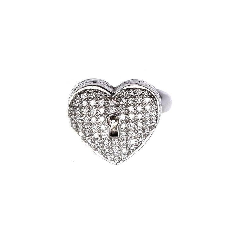 Round Cut Diamond Heart Locket Victorian Poison Ring For Sale