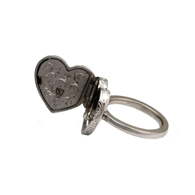 Diamond Heart Locket and Key Victorian Poison Ring in 18 Karat Gold and Diamonds In New Condition For Sale In Fitzroy, AU
