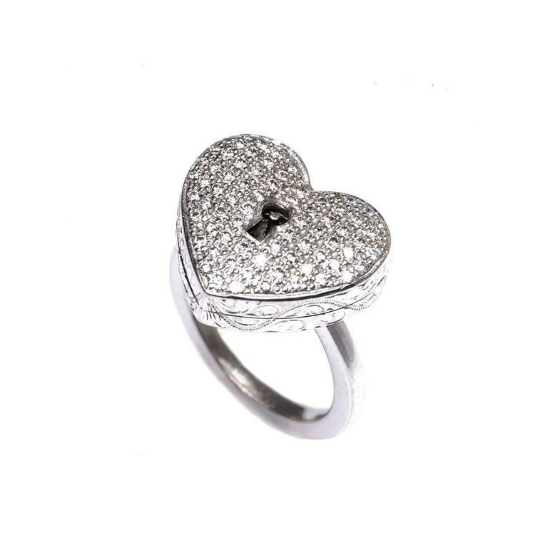 Women's Diamond Heart Locket and Key Victorian Poison Ring in 18 Karat Gold and Diamonds For Sale