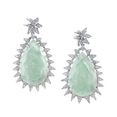 18 Karat White Gold Diamond Jade Spike Earrings