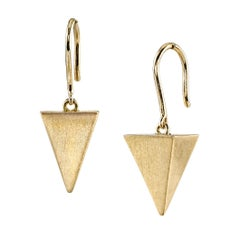 18 Karat Yellow Gold Pyramid Earrings
