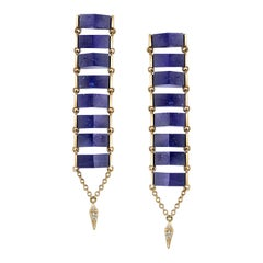 18 Karat Yellow Gold Lapis Lazuli Diamond Ladder Earrings