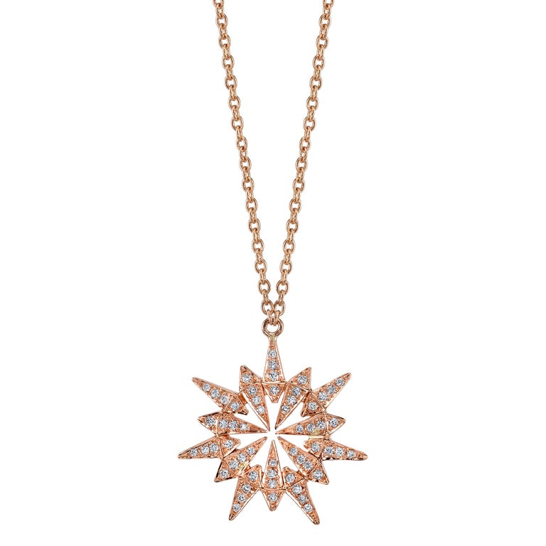 18 karat diamond sunburst pendant necklace for sale at 1stdibs 18 karat diamond sunburst pendant necklace for sale aloadofball Images