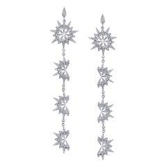 18 Karat White Gold Diamond Sunburst Starburst Earrings