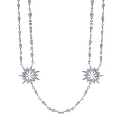 18 Karat White Gold Diamond Sunburst Starburst Necklace with Detachable Pendant