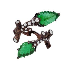 Nature Inspired Zambian Carved Emerald Leaves and Diamond Ring